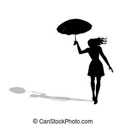 woman with umbrella walking