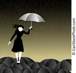woman with umbrella walking on the umbrellas