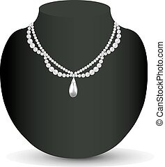 illustration of woman's necklace with pearls and precious...