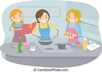 Women Cooking - Illustration of Women Cooking in the Kitchen