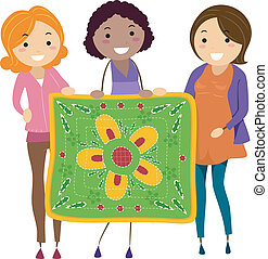 Women Holding a Quilt - Illustration of Women Holding a...