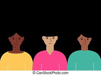 Illustration of women with different skin color