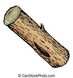 illustration of wood log - hand drawn, cartoon, sketch...