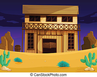 wooden house - illustration of wooden house with dark blue ...