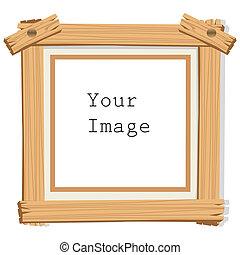 wooden photo frame - illustration of wooden photo frame on...