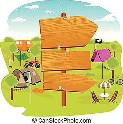 illustration of wooden signs near a campsite