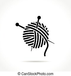 wool ball icon on white background