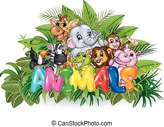 Illustration of Word animal - Vector illustration of Word...
