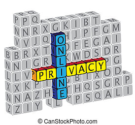 Illustration of word online privacy using alphabet(text) cubes. The graphic can represent concepts like protection of personal information & identity, public and private information and data, etc.