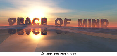 illustration of words on the horizon indicating peace of mind