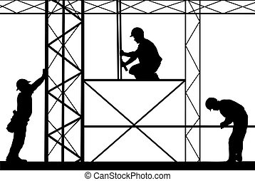 illustration of workers on site