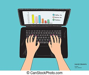 Illustration of workplace with black laptop. Female hands on keyboard working. Hand drawn vector sketch isolated on white background