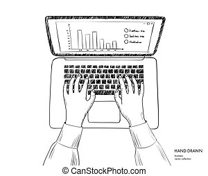 Illustration of workplace with laptop. Hands on keyboard working. Hand drawn line art black and white vector sketch