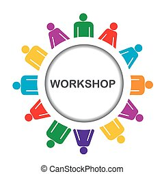 Illustration of workshop icon isolated over white background