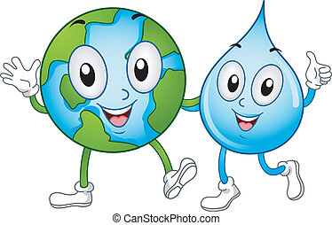 World and Water Mascots - Illustration of World and Water...