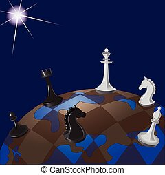 Illustration of world chessboard: global politics as a game of chess