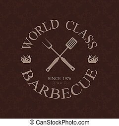 world class barbecue label - illustration of world class...