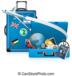 illustration of world tour on white background