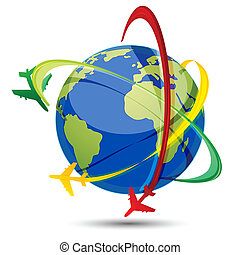 illustration of world tour with airplanes and globe on white background