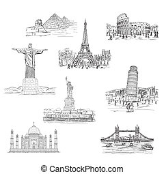 landmarks - illustration of worlds famous landmarks,...