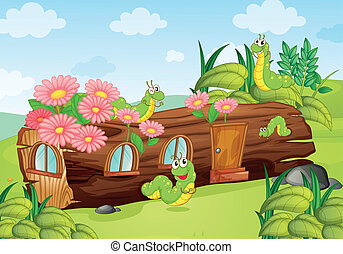 worms and wooden house - illustration of worms and wooden...