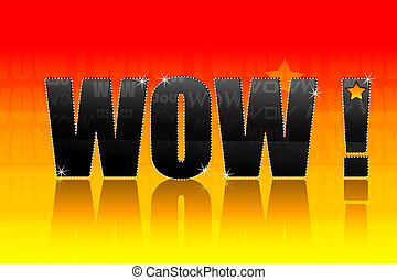 wow text - illustration of wow text on bright colorful ...