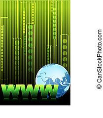 www text with globe