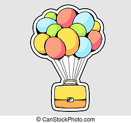 illustration of yellow briefcase flying on color balloons on gray background.