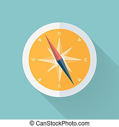 Yellow Compass flat icon over mint