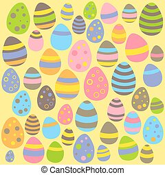 Yellow Easter seamless pattern with eggs