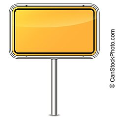 yellow sign board