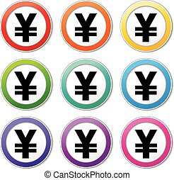 yen icons - Illustration of yen icons various colors set