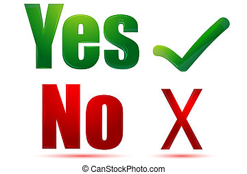 illustration of yes and no on white background