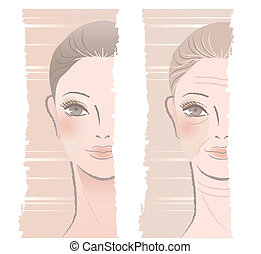 illustration of young and middle aged woman to show juvenescence and aging. Isolated on white. Beauty.