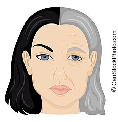 Illustration of young and old face