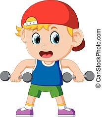 young boy doing weightlifting
