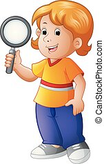 young boy holding a magnifying lens
