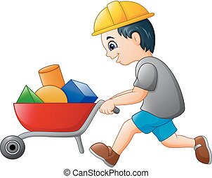 Young builder worker pushing a wheelbarrow