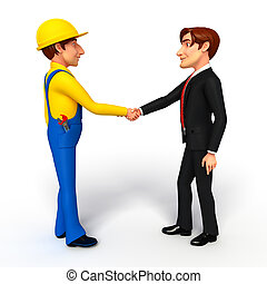 Illustration of Young Business Man and mechanic with shake hand