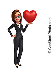 Young Business Woman with red heart - Illustration of Young...