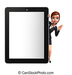 Young Business Woman with tab - Illustration of Young...