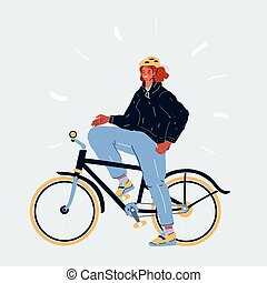 Illustration of Young girl riding bike on white