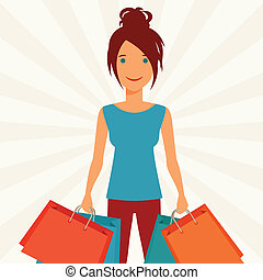 Illustration of young girl with shopping bags.