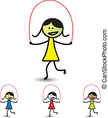 Illustration of young girls playing skipping game & having fun. The graphic shows children enjoying their time and exercising for health at the same time