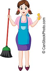 young housewife with broom