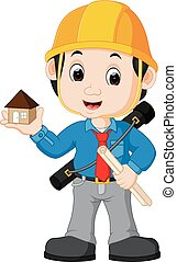 young man architect cartoon