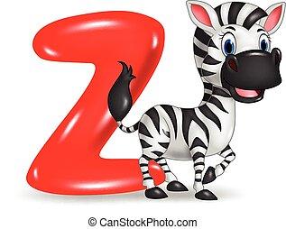 Illustration of Z letter for Zebra