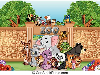 zoo and animals in a beautiful nature - illustration of zoo ...
