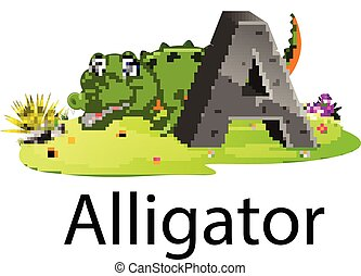 zoo animal alphabet A for alligator with the animal beside