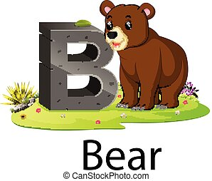 zoo animal alphabet B for bear with the animal beside